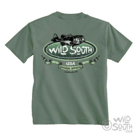 Large Mouth Bass Shirt - Hand Screen Printed on Willow Green Shirt - Fishing Shirt - Men's Shirt - South Carolina - Fish Shirt Wild South