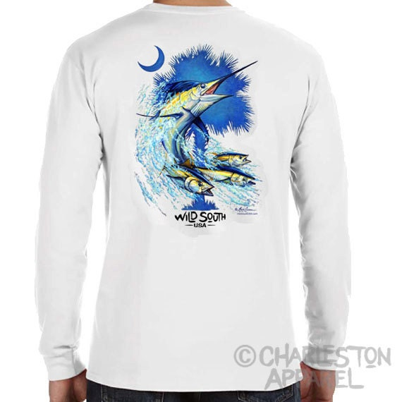 Blue Marlin Shirt - Long Sleeve  - Palmetto Marlin Design - Hand Screen Printed - Blue Marlin Palm and Moon Shirt - gift for fisherman