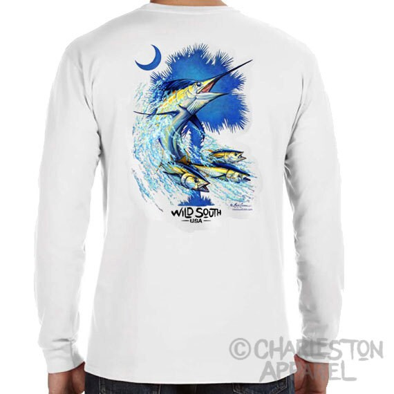 Blue Marlin Fish Long Sleeve Shirt - Palmetto Marlin Design - Hand Screen Printed - Carolina Shirt - Palm and Moon - SC State