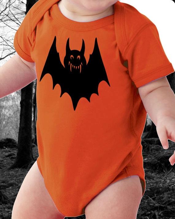 Halloween Bat Onesie with Black Bat for Baby - Super Soft Orange Onesie with Black Bat - Great for Halloween or Fall - Baby Halloween