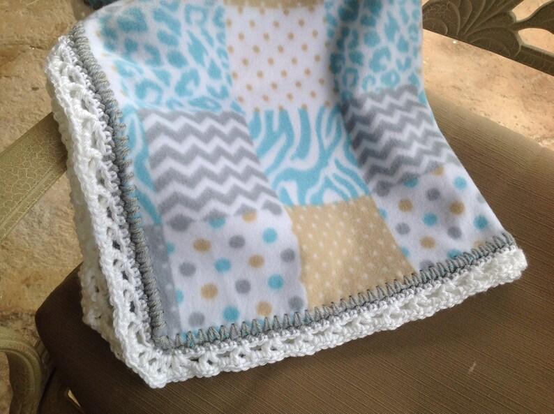 Patchwork Nursery Blanket Fleece Blanket Blue Blanket Baby Etsy