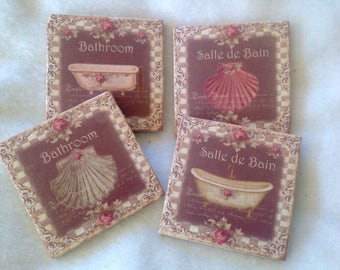 Natural Stone Shabby Chic Claw Foot Tub Coasters, Beverage Coasters, Bath Tub Coasters, Home Decor