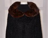 Vintage Genuine Natural Real Black Broadtail Lamb Fur Coat Jacket w. Brown Mink Collar sz Small Bolero VTG Winter Opera Coat Persian Lamb