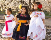 Traditional Mexican Fiesta Dress Huipil Dress Mexican off the shoulder Boho Embroidered Dress Tehuana Embroidery