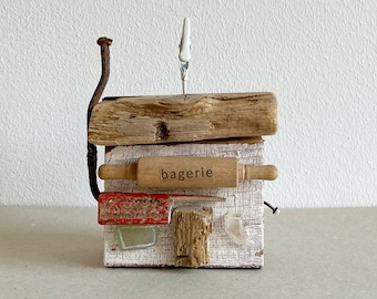 wooden house bagerie bakery made from drift wood scrap wood 11 cm
