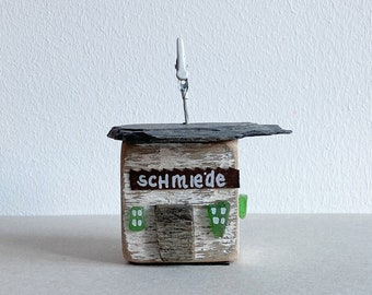 wooden house cottage made of driftwood wood white 7 cm