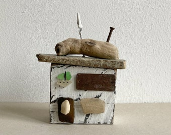 decorative wooden house shop made from driftwood boat seaside 12 cm