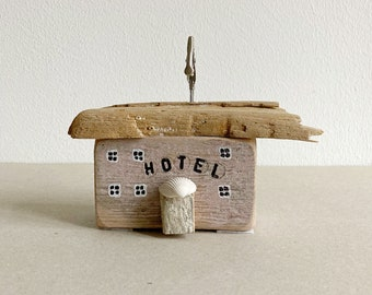 wooden house hotel made from scrap wood driftwood rose 7 cm