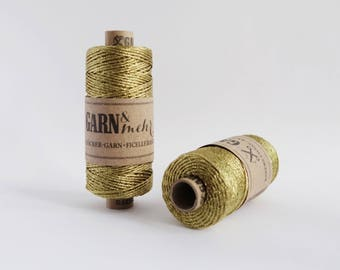 1 spool baker's twine gift ribbon cord thread in gold metallic 45m