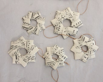 5 stars paper stars origami stars christmas tree decoration with copper twine