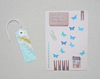 Postkarte Karte maritim Sommerfeeling Collage blau Schmetterling Treibholz Atlas