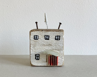 wooden house made from scrap wood driftwood white 10 cm