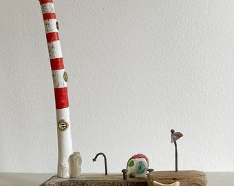 lighthouse light house with van and boot made from driftwood red white 30 cm