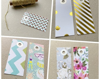 7 gift tags paper tags scraps design graphic gold Christmas flowers set