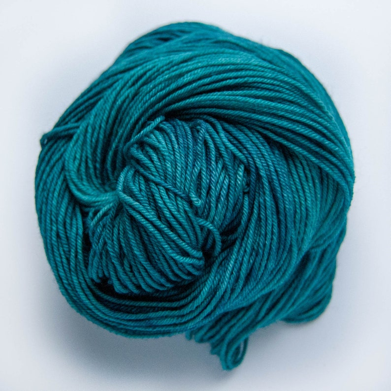 BFL Double Knitting Wool DK Hand Dyed Yarn Tealing My Heart Variegated Tonal Turquoise Teal
