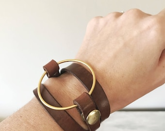 Simple Ring Leather Triple Wrap by LRM