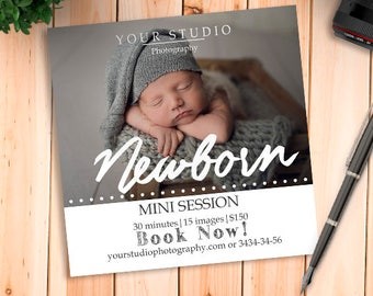 Newborn Marketing - Newborn Mini Session Template, Newborn Marketing Template, Photographer Marketing, Instagram Marketing, Marketing Board