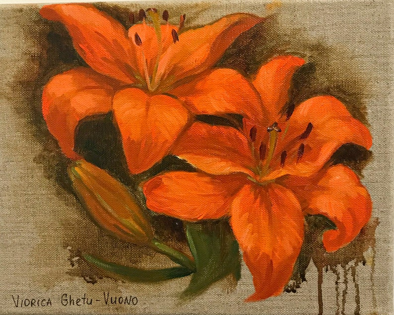 medium size home decor Orange Lily Original Oil Painting collectible art flowers on canvas abstract floral painting