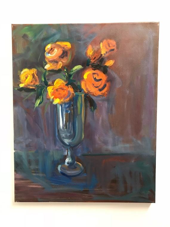 Oil Painting Yellow Orange Roses In Glass Vase Flowers Etsy