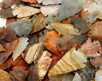 """Jasper Arrowhead 1"""" Perfect for Wire Wrapping and Crafts  (10BROWNSHELF-64)"""