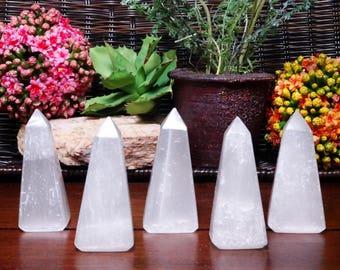 Selenite Obelisk - Obelisk Shaped Selenite Stone - Reiki - Metaphysical - (RK400B10)