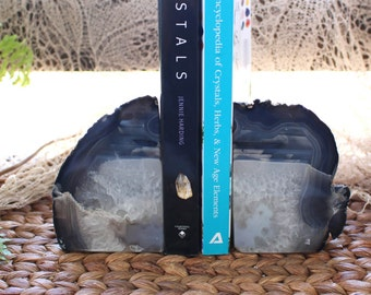 Black Agate Bookend Pair - 1 to 3 lb - Geode Bookend - Home Decor - Crystal and Stones BKE
