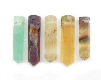 Rainbow Fluorite Pencil Point Bead -  Fluorite Point Top Side Drilled Bead - (RK81B17)