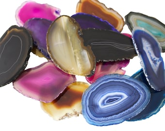 Size # 1 Grade A Oblong Polished Sliced Agates Escort Place Card Coaster Natural Crystal Slab 2.5-3.5 Inches Long Agate Slice