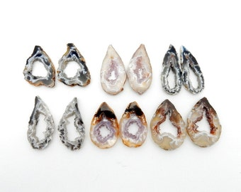Agate Geode Slice Pairs - Druzy Agate Slice - High Quality Agate Slice PAIRS wire wrapping (RK137B4)