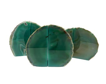 Agate Book Ends Green Agate Bookend Pair - 1 to 3 lb - Geode Bookend - Home Decor - Crystal and Stones