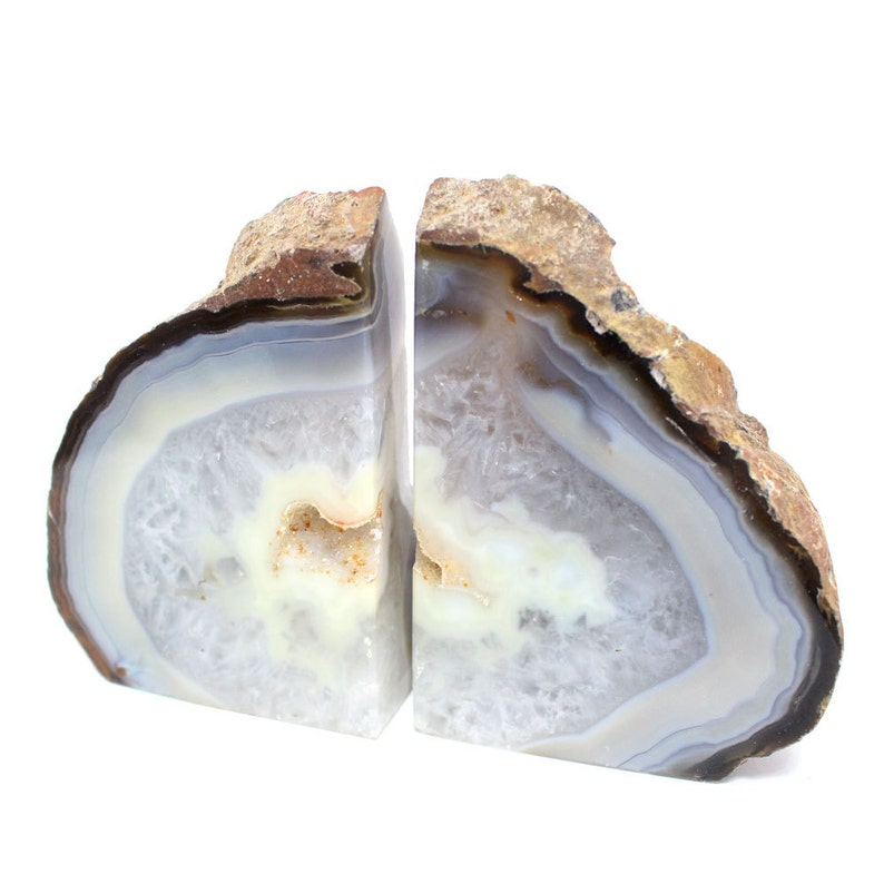 Geode Book end Natural Agate Bookend Pair  1 to 3 lb  Geode image 0