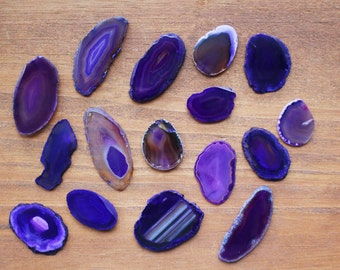 Purple Agate Slices - Size 000 - Craft Supply - Boho Style (AGBS)