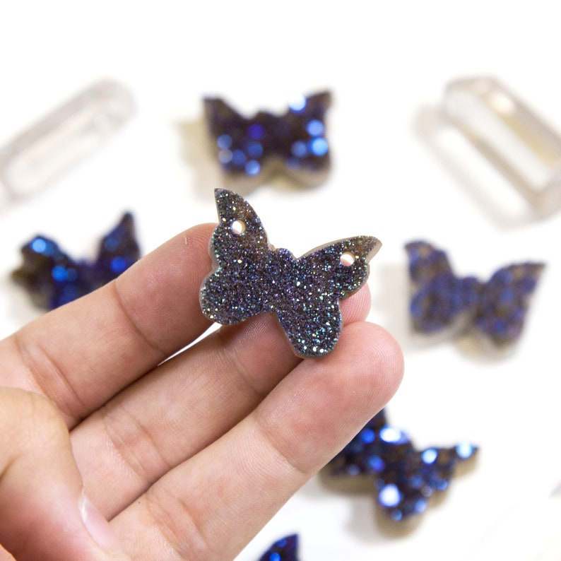 Butterfly Shaped Druzy Pendant Mystic Blue Titanium Treated Cabochon Double Drilled RK94B10-03