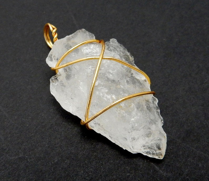 Crystal Quartz Arrowhead Pendant Wire Wrapped Gold Tone Arrow image 0