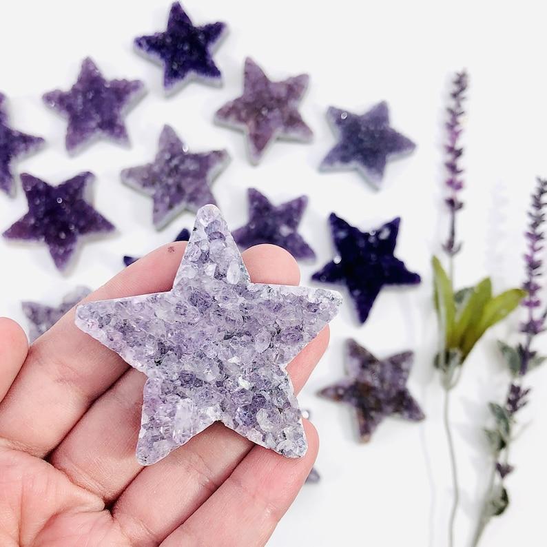 Amethyst Druzy Star RK3008B3 Large Star Cabochon