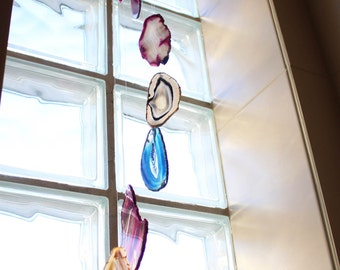 Agate Wind Chimes Mix Color Agate Slice Windchime - Home Decór - Spiritual Gift - Crystal Collection (RK84B2)