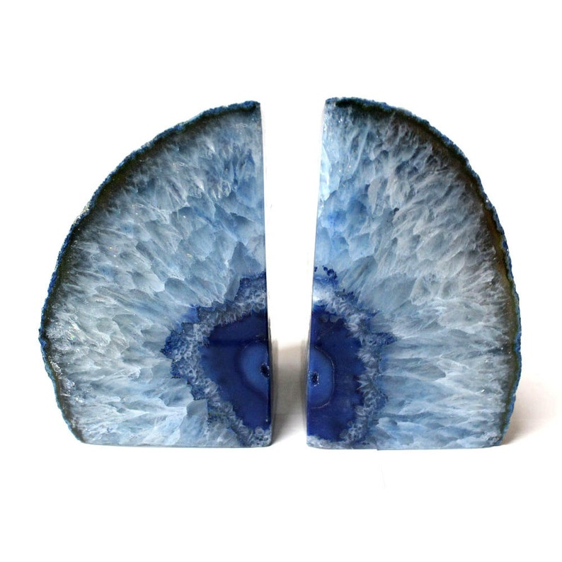 Blue Agate Bookend Pair  3 to 6 lb  Geode Bookend  Home image 0