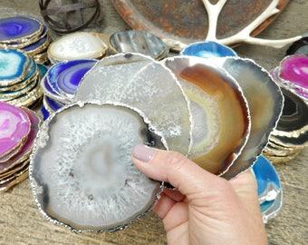 Agate Coasters Set Natural Silver Plated - Large Agate Slice Coaster  You choose  1, 4, 6, 8 Quantity  (OB4B5)