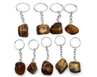 Tumbled Tiger Eye Silver Toned Key Chain - Natural Crystal Tiger Eye Stone Keychain (6BROWNSHELF-15)