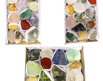 Natural Tumbled Gemstone Mix 1.5-2 lbs Full Box Approx. 10-15 pieces - Mixed Tumbled Gemstones - Tumbled Stones Crystals (RK172TS)
