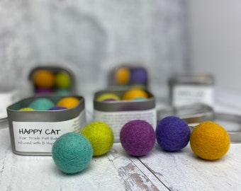 Pastel Colored Catnip Infused Felted Balls with Recharging Tin by Simply B Vermont