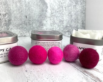 Shades of Pink and Purple Catnip Infused Felted Balls with Recharging Tin by Simply B Vermont