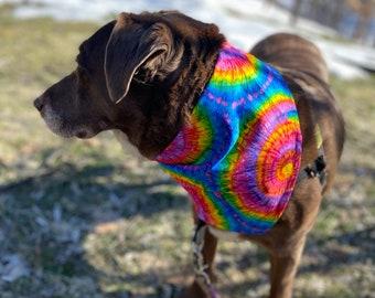 Rainbow Tie Dye  Dog Bandana Reversible Dog Scarf by Simply B Vermont