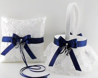 Navy Blue Flower Girl Basket and Ring Bearer Pillow with Initial Charm You Choose The Initial (May also be purchased individually) (ALSN/INT