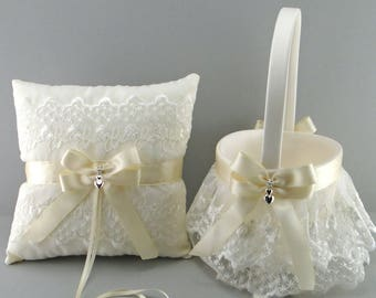 Ivory on Ivory Wedding Bridal Flower Girl Basket and Ring Bearer Pillow Set ~ Allison Line ~ (May also be purchased individually)