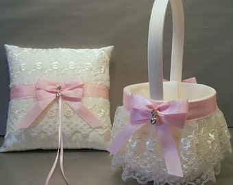 Light Pink Wedding Bridal Flower Girl Basket & Ring Bearer Pillow Set on Ivory or White ~ Allison Line ~ May also be purchased individually