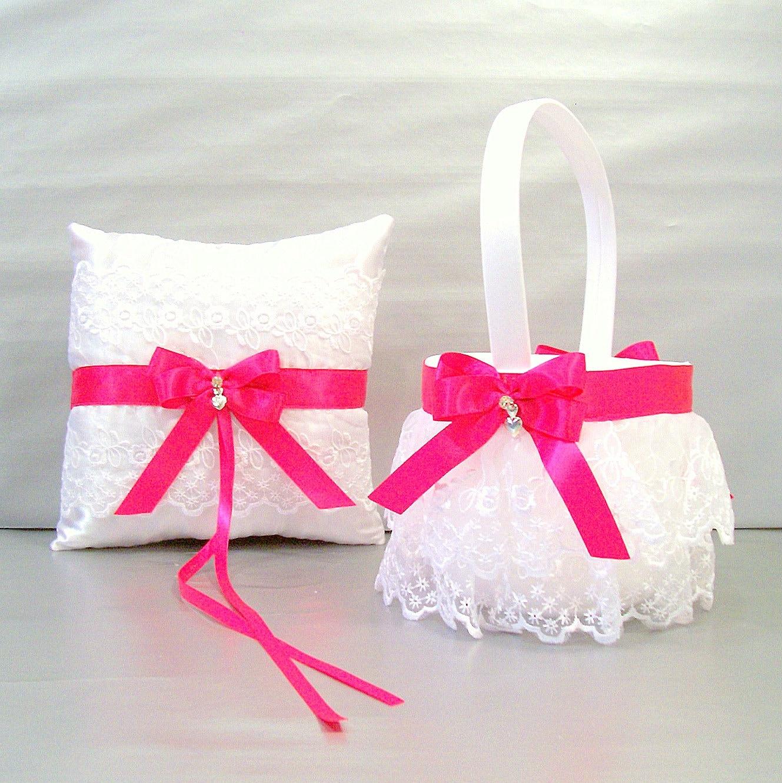 Fuchsia Pink Wedding Flower Girl Basket And Ring Bearer Pillow Etsy