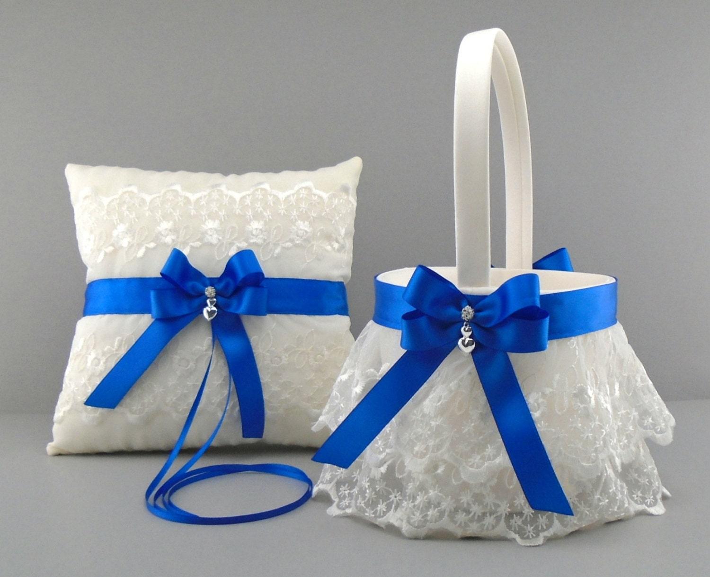 Royal Wedding Gifts: Royal Blue Wedding Bridal Flower Girl Basket & Ring Bearer