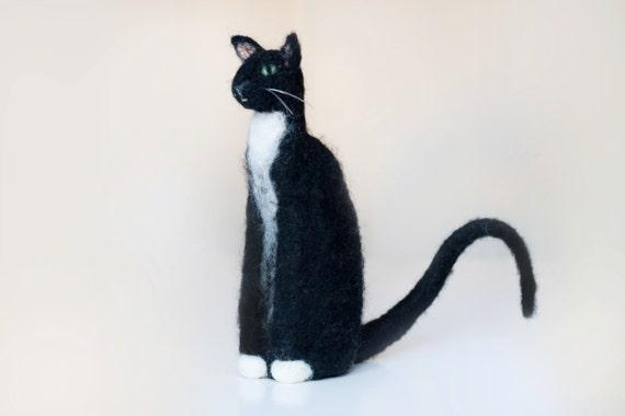 Igły Z Filcu Kot Czarny Kot Portret Orientalny Kot Figurka Etsy