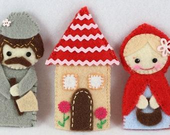 Little Red Riding Hood Finger Puppets Sewing Pattern - PDF ePATTERN